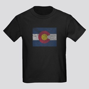 Vintage Colorado Flag Kids Dark T-Shirt
