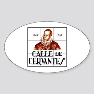 Calle de Cervantes, Madrid - Spain Oval Sticker