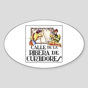 Calle Ribera de Curtidores, Madrid Oval Sticker