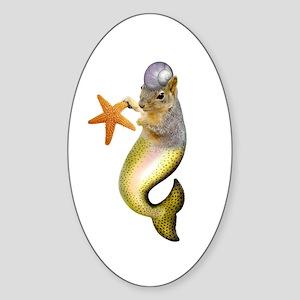 Mermaid Squirrel Sticker (Oval)