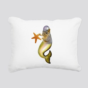 Mermaid Squirrel Rectangular Canvas Pillow