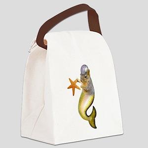 Mermaid Squirrel Canvas Lunch Bag