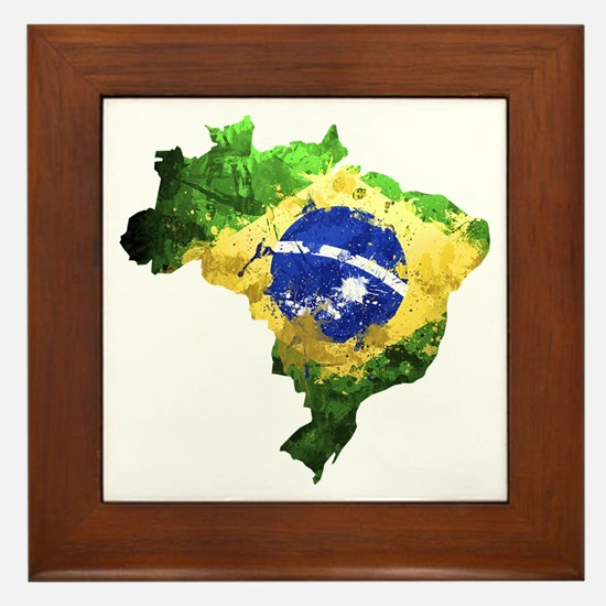Brazil Flag Graffiti Framed Tile
