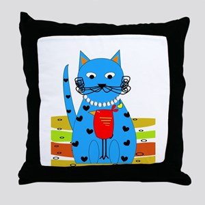 Whimsical Cat Throw Pillow