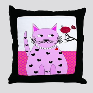 cat bird 6 Throw Pillow