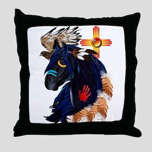 Black Stallion of Morning Throw Pillow