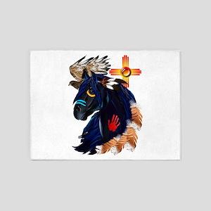 Black Stallion of Morning 5'x7'Area Rug