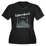 Istanbul Women's Plus Size V-Neck Dark T-Shirt