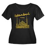 Istanbul Women's Plus Size Scoop Neck Dark T-Shirt