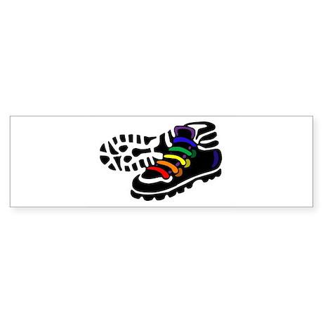 Rainbow Hiking Bumper Sticker