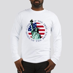 Liberty & American flag Long Sleeve T-Shirt