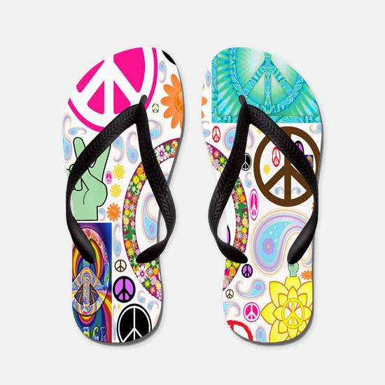 Peace Paisley Collage FF Flip Flops