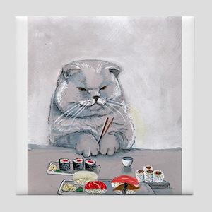 Sushi Cat- The Grump Tile Coaster