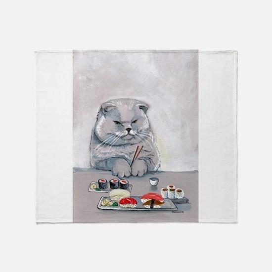 Sushi Cat- The Grump Throw Blanket