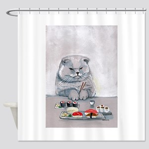 Sushi Cat- The Grump Shower Curtain