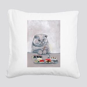 Sushi Cat- The Grump Square Canvas Pillow