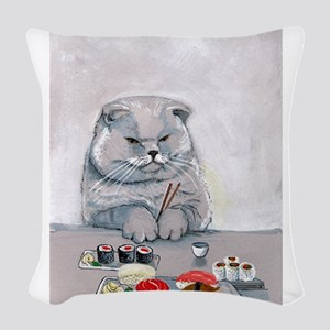 Sushi Cat- The Grump Woven Throw Pillow