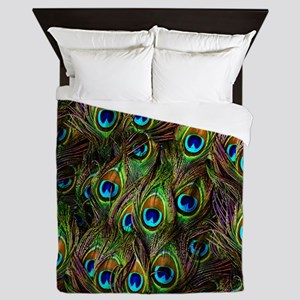 Peacock Feathers Invasion Queen Duvet