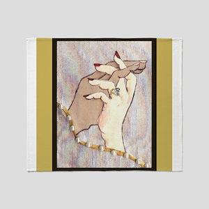 Holding Hands Under Linen Throw Blanket
