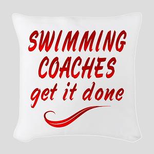 Swimming Coaches Woven Throw Pillow