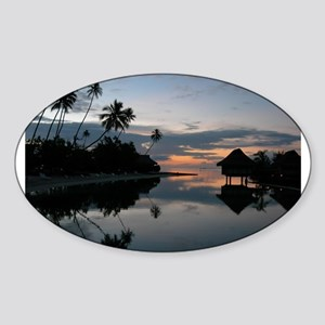 Tahiti Sunset Oval Sticker