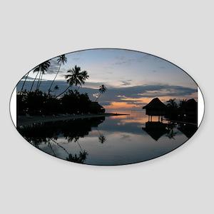 Tahiti Sunset Oval Sticker