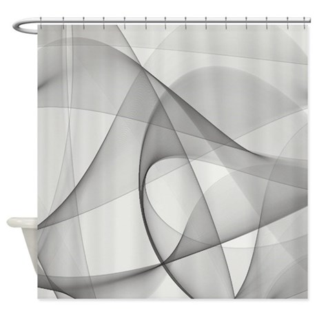 974150266 CafePress Falling Gray And Red Circles Shower Curtain