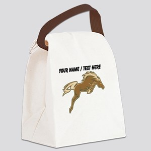 Custom Jumping Horse Canvas Lunch Bag