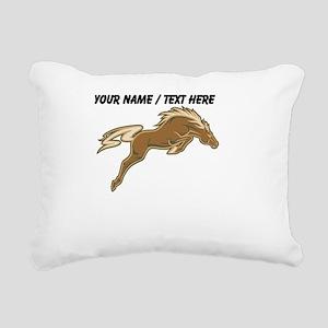 Custom Jumping Horse Rectangular Canvas Pillow