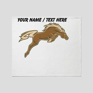 Custom Jumping Horse Throw Blanket