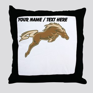 Custom Jumping Horse Throw Pillow