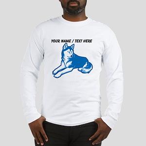 Custom Blue Husky Long Sleeve T-Shirt