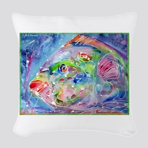 Tropical Fish! Colorful art! Woven Throw Pillow