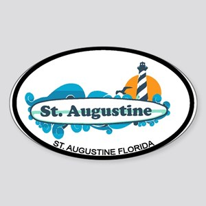 St. Augustine - Palm Surf Design. Sticker (Oval)