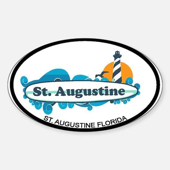 St. Augustine - Palm Surf Design. Sticker (Oval)