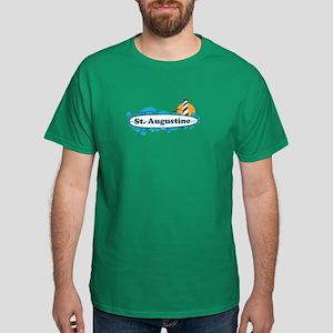 St. Augustine - Palm Surf Design. Dark T-Shirt