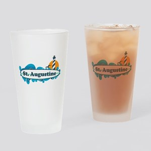 St. Augustine - Palm Surf Design. Drinking Glass