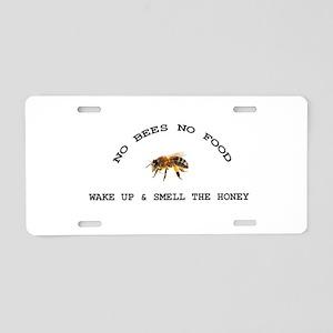 No Bees No Food Aluminum License Plate