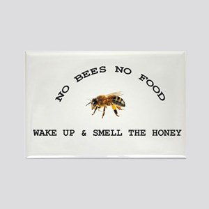 No Bees No Food Rectangle Magnet