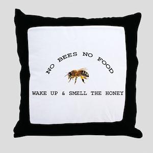 No Bees No Food Throw Pillow