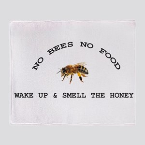 No Bees No Food Throw Blanket