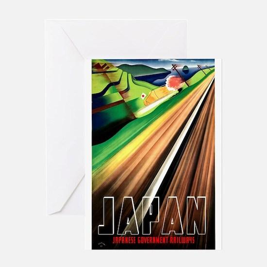 Antique 1937 Japanese Railways Travel Poster Greet