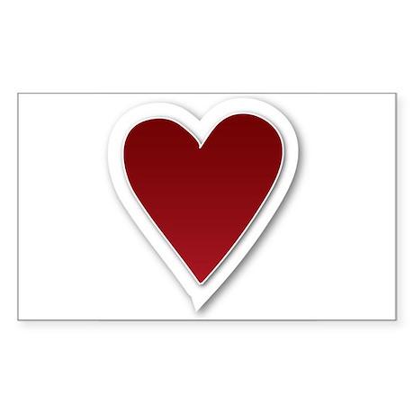 3-D Valentine Heart Rectangle Sticker