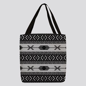 Black And White Aztec Pattern Polyester Tote Bag
