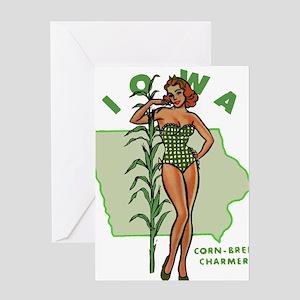 Faded Iowa Pinup Greeting Card
