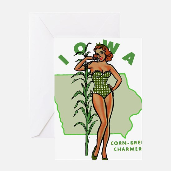 Faded Iowa Pinup Greeting Card