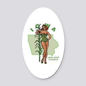 Faded Iowa Pinup Oval Car Magnet