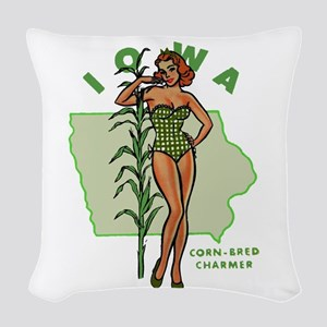 Faded Iowa Pinup Woven Throw Pillow