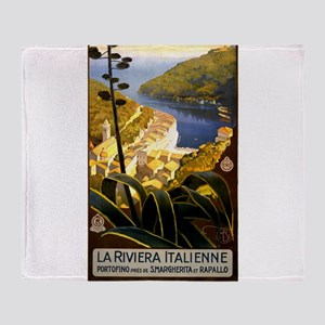 Antique 1920 Italian Riviera Travel Poster Throw B