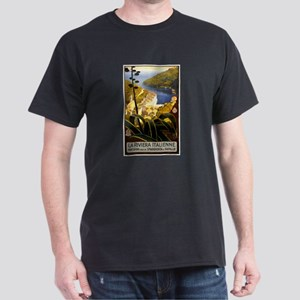 Antique 1920 Italian Riviera Travel Poster T-Shirt